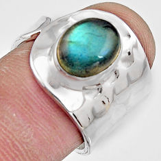 925 silver 4.22cts natural blue labradorite solitaire ring jewelry size 7 p91097