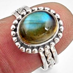 925 silver 4.42cts natural blue labradorite solitaire ring jewelry size 7 p91237