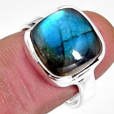 925 silver 6.81cts natural blue labradorite solitaire ring jewelry size 7 p92317