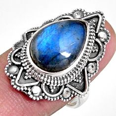925 silver 6.45cts natural blue labradorite solitaire ring jewelry size 7 p92377