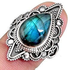 925 silver 6.63cts natural blue labradorite solitaire ring jewelry size 7 p92613