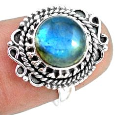 925 silver 4.68cts natural blue labradorite solitaire ring size 7.5 p72344