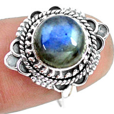 925 silver 4.68cts natural blue labradorite solitaire ring size 7.5 p72352