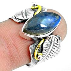 925 silver 6.53cts natural blue labradorite solitaire ring size 7.5 p77194