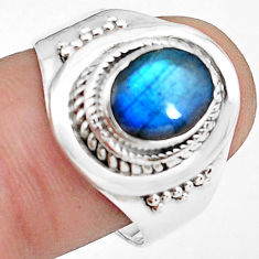 925 silver 3.29cts natural blue labradorite solitaire ring size 7.5 p78770