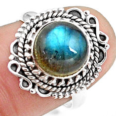 925 silver 4.84cts natural blue labradorite solitaire ring size 7.5 p78816