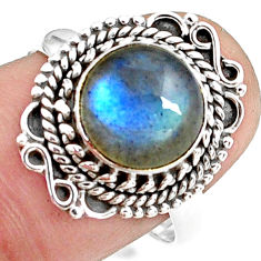 925 silver 5.11cts natural blue labradorite solitaire ring size 8.5 p78820