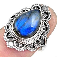 925 silver 6.83cts natural blue labradorite solitaire ring size 7.5 p88295