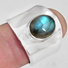 925 silver 4.55cts natural blue labradorite solitaire ring size 6.5 p89469