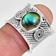 925 silver 4.53cts natural blue labradorite solitaire ring size 7.5 p89479