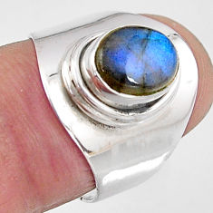 925 silver 3.25cts natural blue labradorite solitaire ring size 6.5 p91220