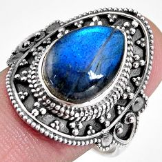 925 silver 6.89cts natural blue labradorite solitaire ring size 10.5 p92373