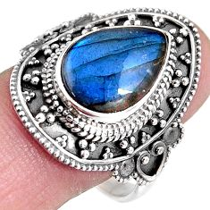 925 silver 6.74cts natural blue labradorite solitaire ring size 10.5 p92390