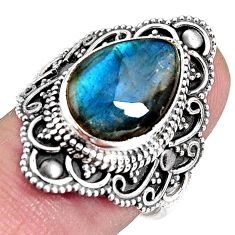 925 silver 6.83cts natural blue labradorite solitaire ring size 7.5 p92397
