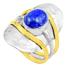925 silver 4.71cts natural blue lapis lazuli gold solitaire ring size 7.5 p81084
