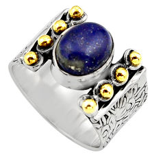 925 silver 4.59cts natural blue lapis lazuli gold solitaire ring size 8.5 p91169