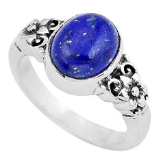 925 silver 4.22cts natural blue lapis lazuli oval solitaire ring size 7 p55808