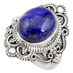925 silver 5.30cts natural blue lapis lazuli oval solitaire ring size 6 p85992