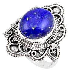 925 silver 5.75cts natural blue lapis lazuli oval solitaire ring size 7 p86891