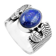 925 silver 4.21cts natural blue lapis lazuli oval solitaire ring size 7 p87870