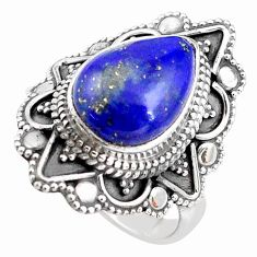 925 silver 5.53cts natural blue lapis lazuli pear solitaire ring size 7 p85935