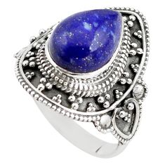 925 silver 5.01cts natural blue lapis lazuli pear solitaire ring size 10 p85960