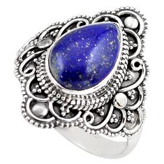 925 silver 5.52cts natural blue lapis lazuli pear solitaire ring size 10 p86873