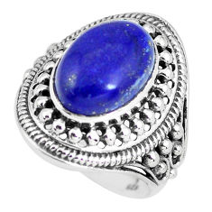 925 silver 6.61cts natural blue lapis lazuli solitaire ring size 8.5 p56028