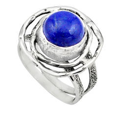 925 silver 5.08cts natural blue lapis lazuli solitaire ring size 6.5 p80929
