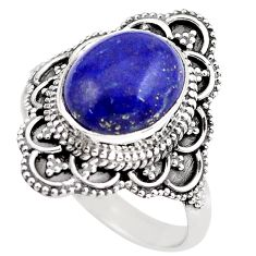 925 silver 5.52cts natural blue lapis lazuli solitaire ring size 10 p86914