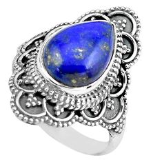 925 silver 5.08cts natural blue lapis lazuli solitaire ring size 7.5 p86935