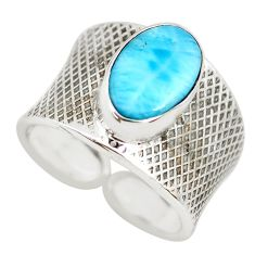925 silver 4.74cts natural blue larimar adjustable solitaire ring size 7 p71319