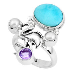 925 silver 7.10cts natural blue larimar amethyst pearl ring size 7 p47739