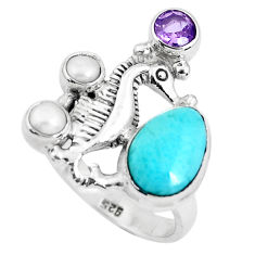 925 silver 6.61cts natural blue larimar amethyst seahorse ring size 8 p47700