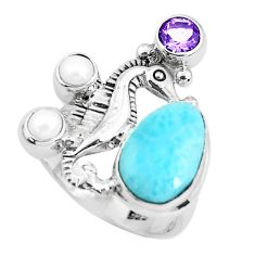 925 silver 7.20cts natural blue larimar amethyst seahorse ring size 8.5 p47718