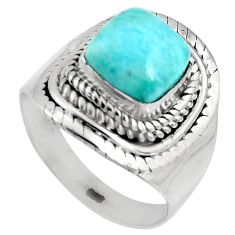 925 silver 3.55cts natural blue larimar cushion solitaire ring size 6.5 p90132
