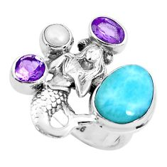 925 silver 7.11cts natural blue larimar fairy mermaid ring jewelry size 8 p47691