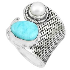 925 silver 5.18cts natural blue larimar pearl adjustable ring size 7.5 p66938