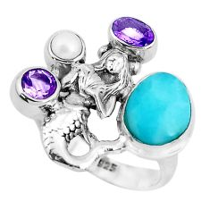 925 silver 7.11cts natural blue larimar pearl fairy mermaid ring size 8 p47697