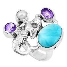 925 silver 6.61cts natural blue larimar pearl fairy mermaid ring size 7 p47704