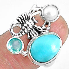 925 silver 7.10cts natural blue larimar scorpion charm ring size 7.5 p42683