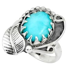 925 silver 5.09cts natural blue larimar solitaire ring jewelry size 5.5 p34304