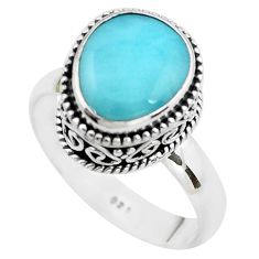 925 silver 5.12cts natural blue larimar solitaire ring jewelry size 8.5 p38034