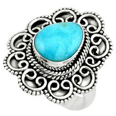 925 silver 4.54cts natural blue larimar solitaire ring jewelry size 7 p66804