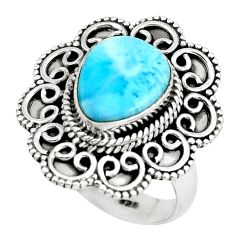 925 silver 5.62cts natural blue larimar solitaire ring jewelry size 8 p66816