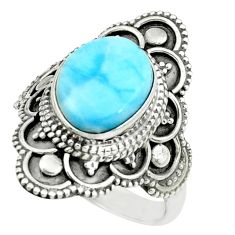 925 silver 4.73cts natural blue larimar solitaire ring jewelry size 7 p66828