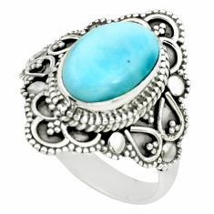 925 silver 4.22cts natural blue larimar solitaire ring jewelry size 8 p66854