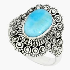 925 silver 4.22cts natural blue larimar solitaire ring jewelry size 7 p66874