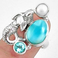 925 silver 7.10cts natural blue larimar topaz fairy mermaid ring size 6.5 p42686