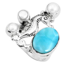 925 silver 6.15cts natural blue larimar white pearl seahorse ring size 7 p47710